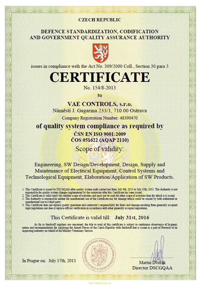 Certificates Vae Controls